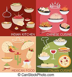 flat design vector banners with italian,mexican chinese and indian food