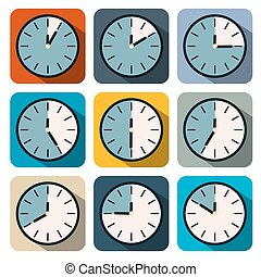 Flat Design Vector Clock Illustration Set