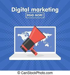 Flat design vector concept for digital marketing