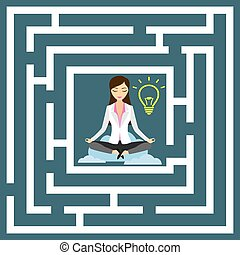 Business woman in lotus position with idea bulb