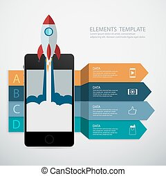 Flat design vector concept Mobile phone,Infographic