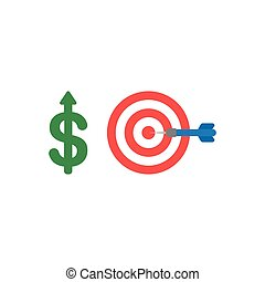 Flat design vector concept of dollar up with bulls eye and dart in the center
