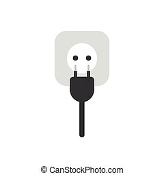 Flat design vector concept of electrical plug with cable and outlet