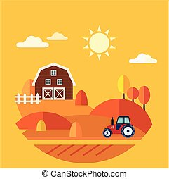 Flat Design Vector Concept of Farm Landscape
