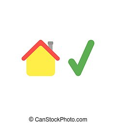Flat design vector concept of house with check mark