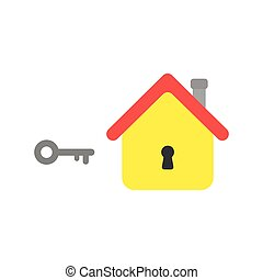 Flat design vector concept of key and house with keyhole