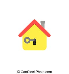 Flat design vector concept of key in house keyhole