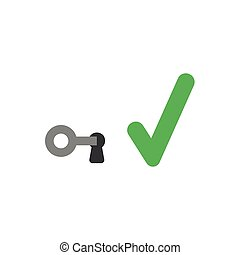 Flat design vector concept of key in keyhole with check mark