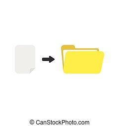 Flat design vector concept of paper into open folder