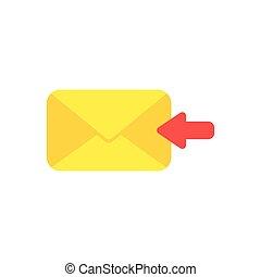 Flat design vector concept of receive message or email with envelope and arrow