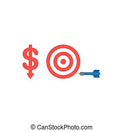 Flat design vector concept of red dollar down with bulls eye and dart in the side