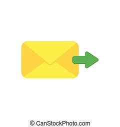 Flat design vector concept of send message or email with envelope and arrow