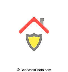 Flat design vector concept of shield guard under roof