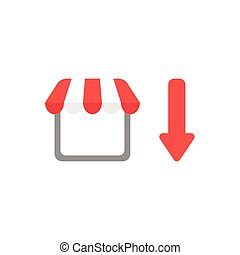 Flat design vector concept of shop or store with arrow moving down