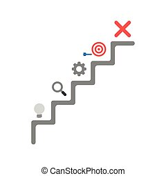 Flat design vector concept of stairs with grey light bulb, magnifier, gear, bulls eye with dart and x mark