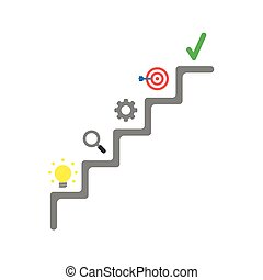 Flat design vector concept of stairs with light bulb, magnifier, gear, bulls eye with dart and check mark