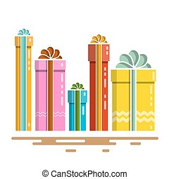 Flat Design Vector Gift Boxes. Vector Present Box Isolated on White Background.
