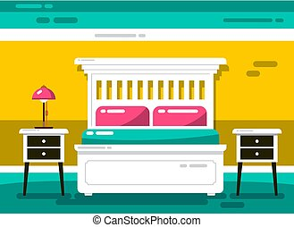 Flat Design Vector Hotel Room with Bed