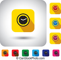 flat design vector icon - button with simple clock or watch ...