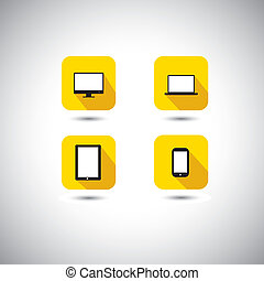 flat design vector icon - computer, laptop, smartphone & ...