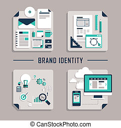 flat design vector icons for brand identity