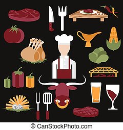 flat design vector icons of steak house food elements and chef
