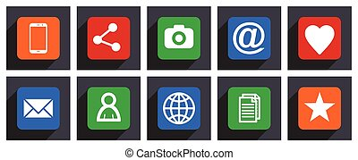 Flat design vector icons. Set of mobile phone, share, camera, email, love, heart, avatar, world, document and star signs in eps 10.