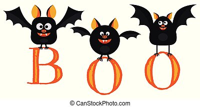 Flat design vector illustration, cartoon cute smilling black bats fly with letters boo in paws isolated on white background.