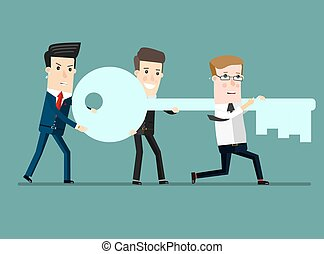 Flat design vector illustration concept of team work. Businessman and businesswoman go to the door with a key.