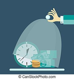 Flat design vector illustration concept for saving time and money, trustworthy business and financial services