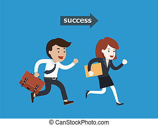 Business people running to success