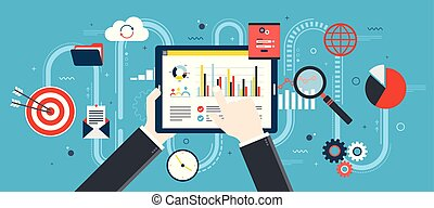 Flat design vector illustration concept of financial investment, analytics with growth report.