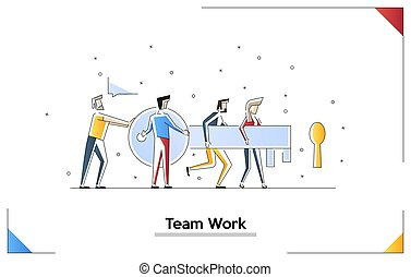 Flat design vector illustration concept of team work. males and female go with a key. Tiny people with a giant key.
