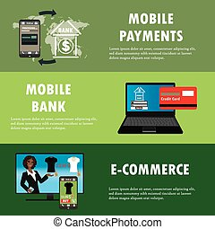 Flat design vector illustration concepts of online payment methods.