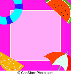 Flat design Vector Illustration Empty esp template copy space text for Ad, promotion, poster, flyer, web banner, article Things related to Summertime Beach items on four corners with center space