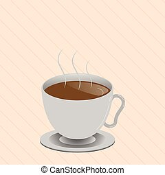 Flat design Vector Illustration Empty esp template copy space text for Ad, promotion, poster, flyer, web banner, article Levitating Cup of Hot Steaming Drink with Saucer Zero Gravity Dishware