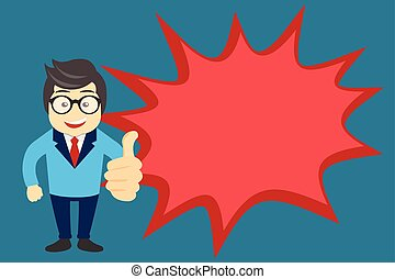 Flat design Vector Illustration Empty esp template copy text for Ad, promotion, poster, flyer, web banner, article. Man in Suit Standing Making Thumbs Up and Blank Explosion Speech Bubble