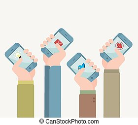 Flat design vector illustration of hands with phones