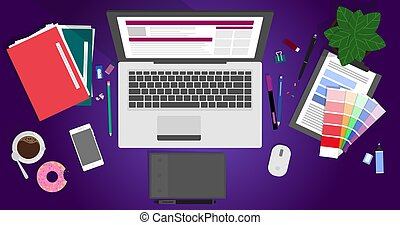 Flat design vector illustration of modern creative office workspace, workplace of a designer.