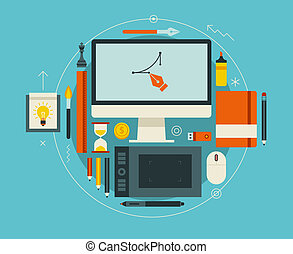 Flat design vector illustration of modern creative workspace...