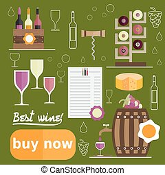flat design vector illustration of wine theme