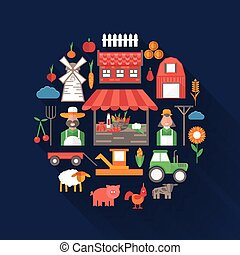 flat design vector illustration on farm theme