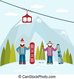flat design vector illustration on ski and snowboard theme
