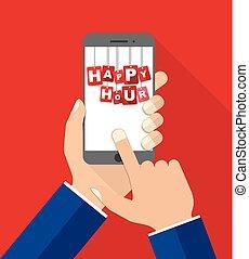 flat design vector illustration smartphone with hands - happy hour