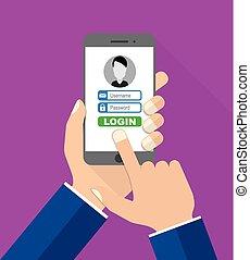 flat design vector illustration smartphone with hands - login
