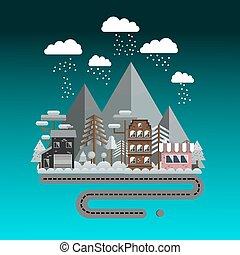 Flat design, vector illustration, winter landscape in night.