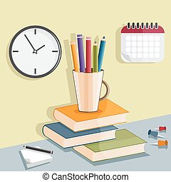 flat design vector illustration with pencils in the glass and books