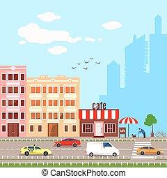 Flat design vector illustrationof urban landscape
