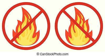 Flat design vector image of no fire sign icon - colored fire crossed out in a red circle isolated on white background.