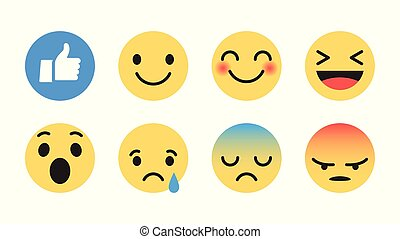 Flat Design Vector Modern Emoji - Vector Emoji Set with...